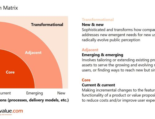 What is the ambition matrix and how does it work as part of an innovation portfolio?